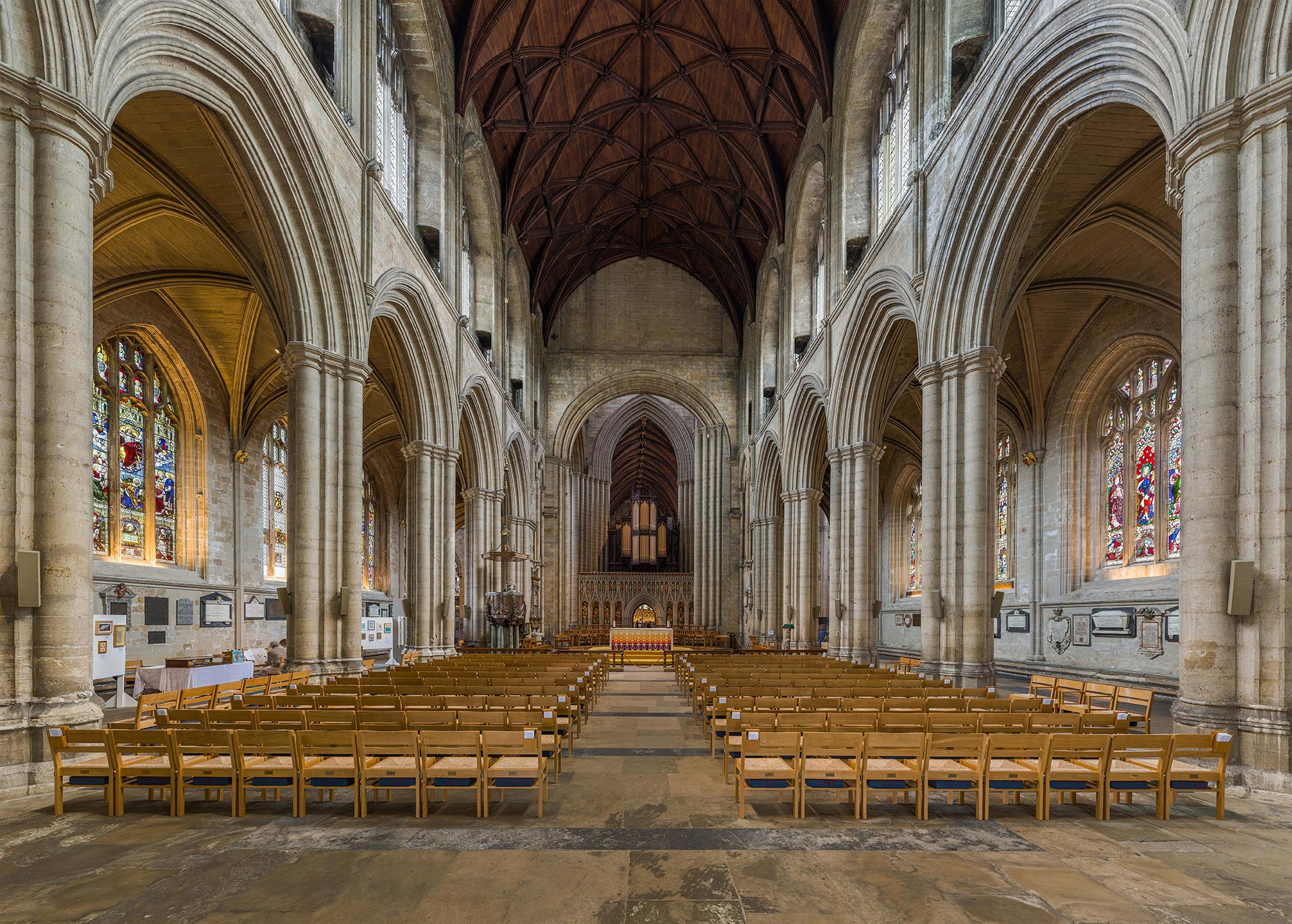 The nave of Ripon Cathedral looking east from the entrance in North Yorkshire, England